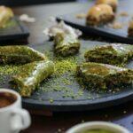 turkish dessert sarma baklava dough pistachios syrup coffeeside view
